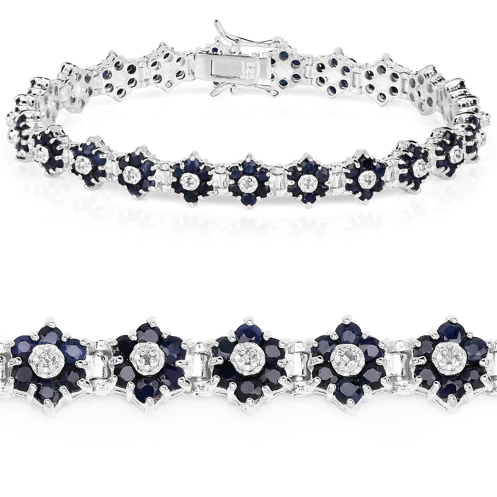 6.31 Carat Genuine Blue Sapphire and White Diamond .925 Sterling Silver Bracelet