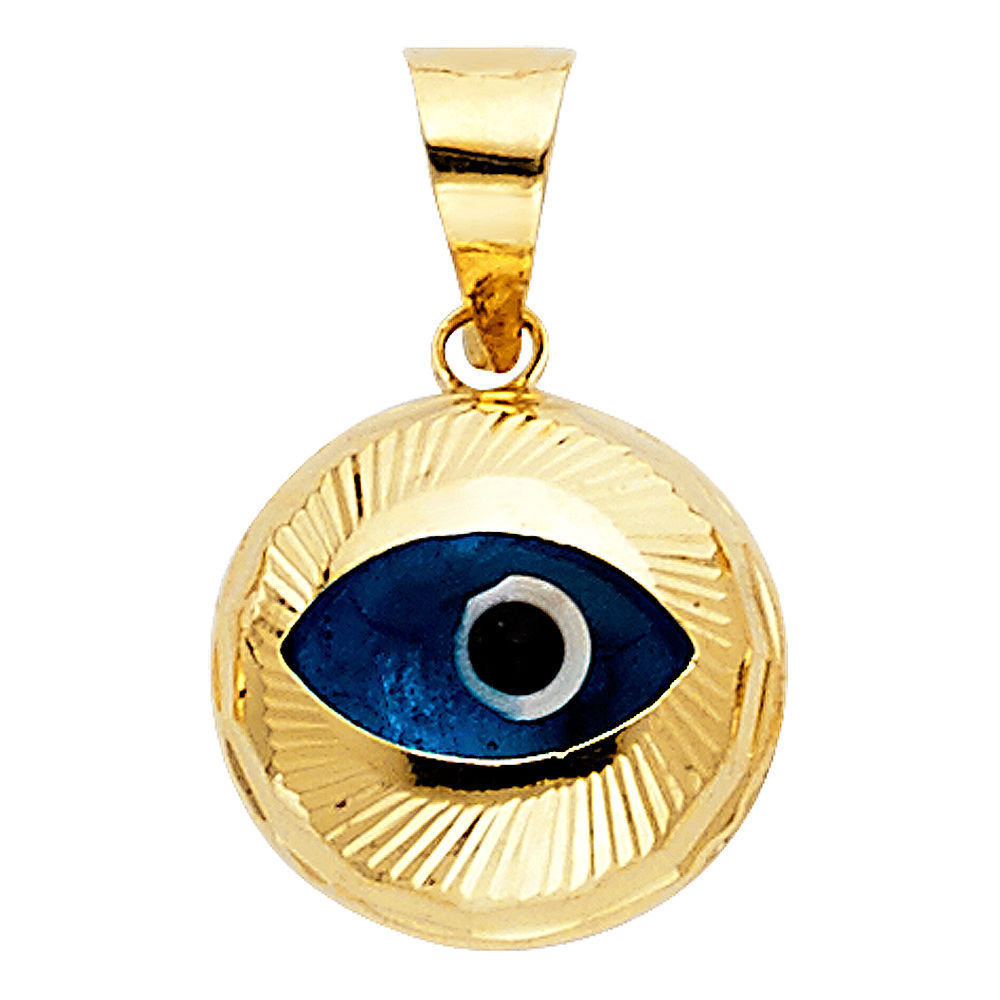 14K Solid Yellow Gold Evil Eye Good Luck Charm Pendant