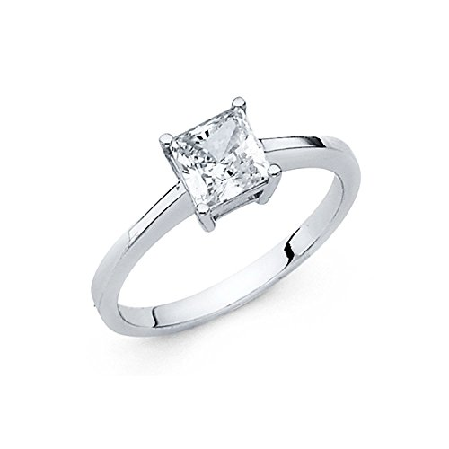 14k-Solid-White-Or-Yellow-Gold-Classic-Princess-Cut-Solitaire-Authenticated-with-a-14k-Stamp-1.0ct.-Engagement-Ring