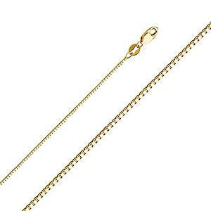 New 14K Solid Yellow Gold Box Chain Necklace with Secure Lobster Lock Clasp- 24 Inches Long & 0.8mm Width