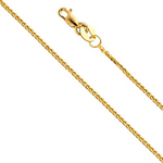 "14K Yellow Gold Braided Square Wheat Chain Necklace with Lobster Claw Clasp 16"" 20"" 24"" Long & 0.8mm Width"
