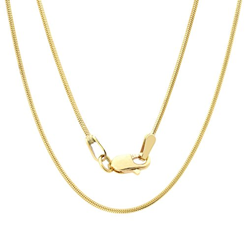 "14K Solid Yellow Gold Round Snake Chain Necklace- 20"" Long & 0.8mm Width"