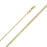 "14K Solid Yellow Gold Box Chain Necklace with Secure Lobster Claspis 24"" long & 1mm Width"