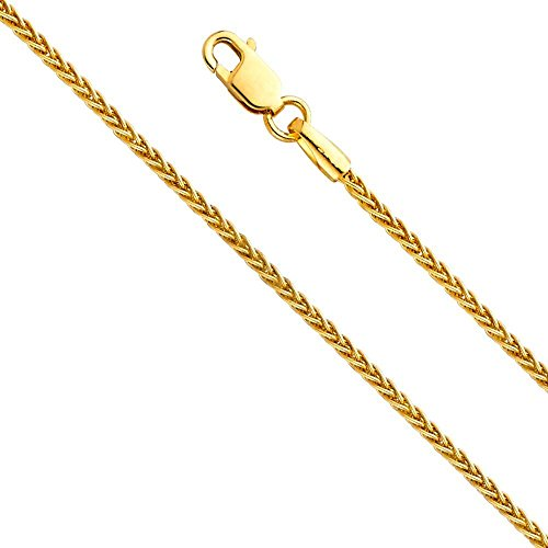 "14k Solid Yellow Gold Wheat Chain Necklace with Lobster Claw Clasp – 20"" long & 1.2mm width"