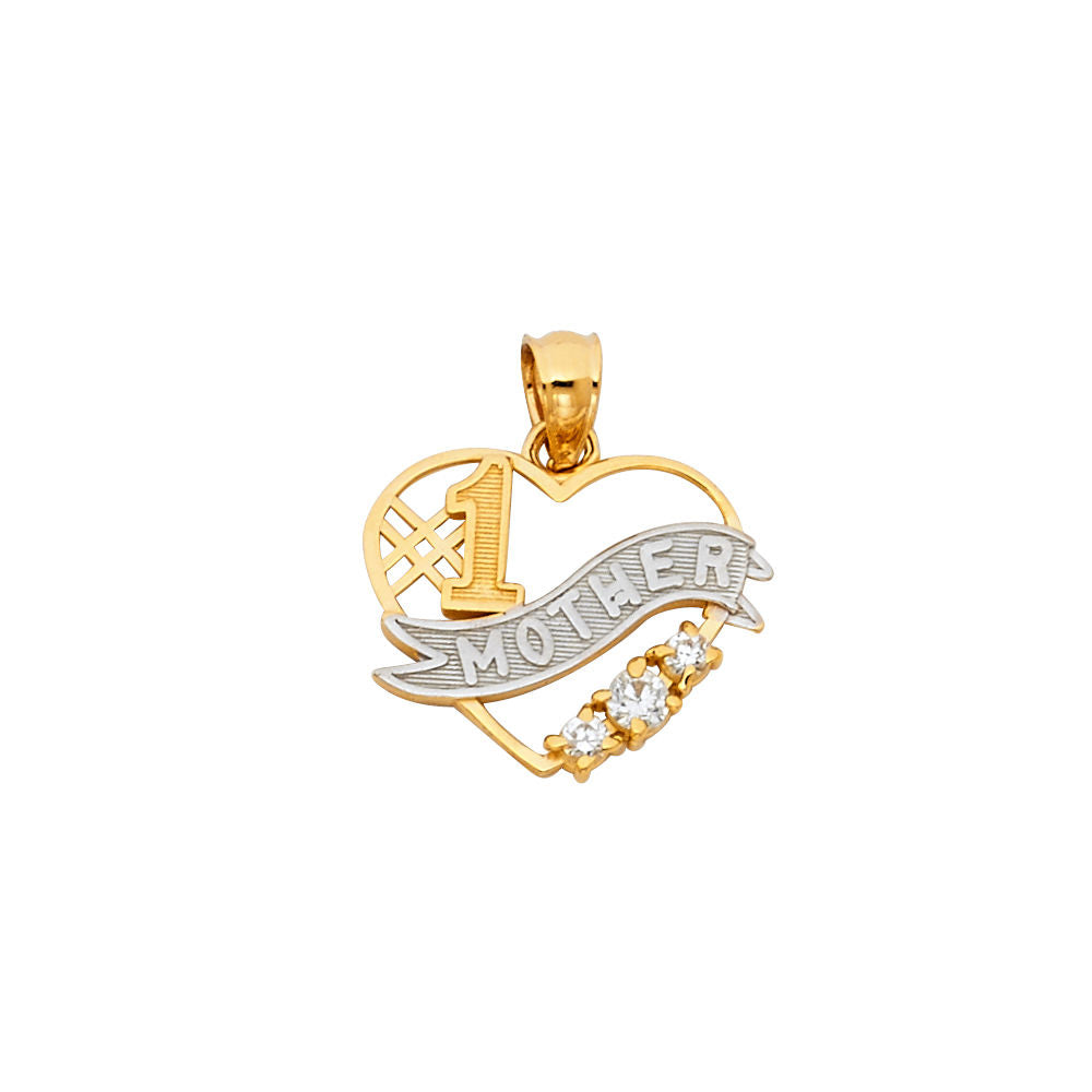 14k Yellow Gold #1 Mother Mom Pendant Diamond Heart Love Gift for Mom Special