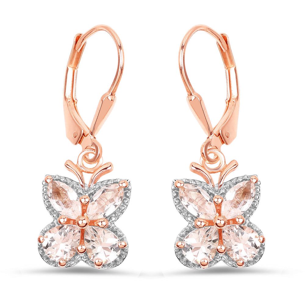 925 Sterling Silver Lever Back Drop Gemstone Earrings 1.88ct Genuine Morganite