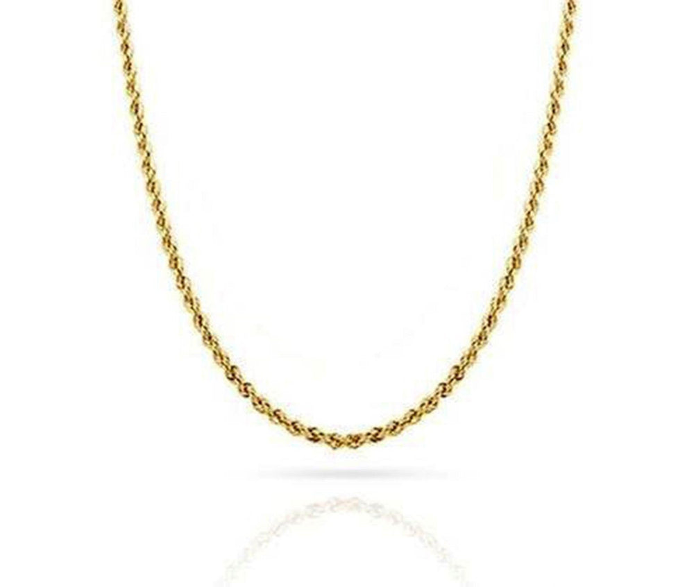 "Yellow 10K Rope Chain Diamond Cut Gold Necklace Men Women 1.8 MM, 14""- 30"" Inch"