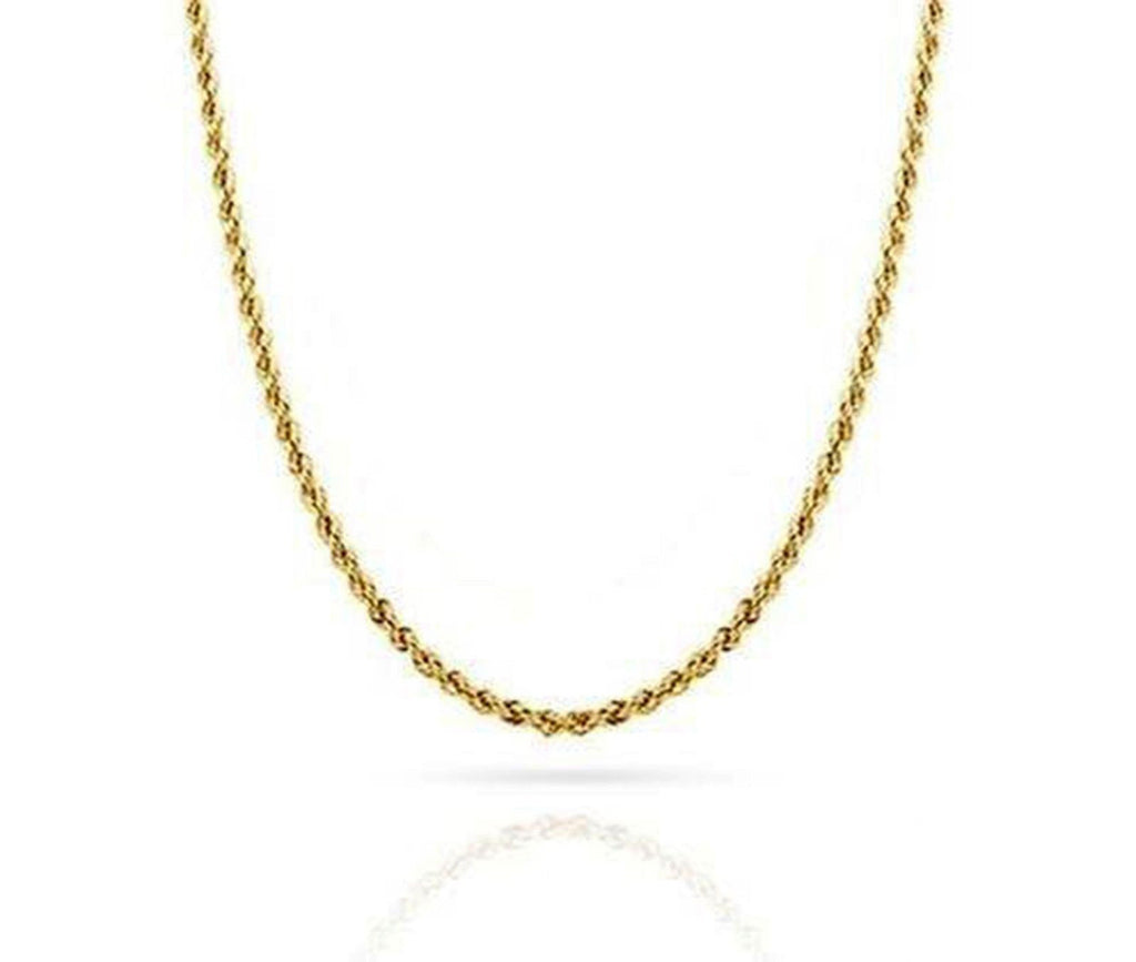 Yellow 10K Rope Chain Diamond Cut Gold Necklace Men Women 1.8 MM ...