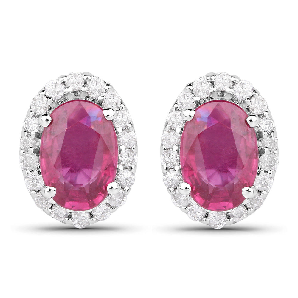 Ear Stud Pair 1.29 ct Genuine Ruby & White Diamond 14K White Gold Earrings