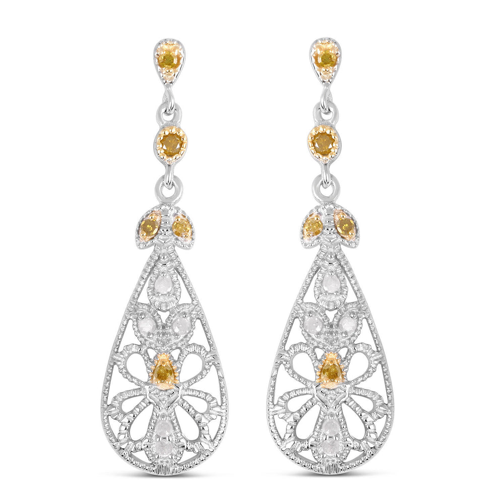 0.33ct Genuine White Diamond & Yellow Diamond Drop Earrings 925 Sterling Silver