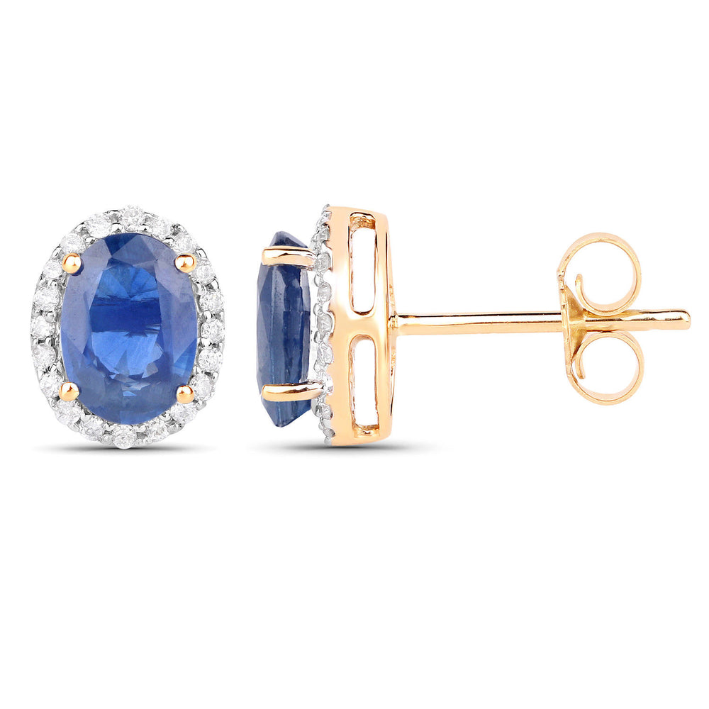 Stud Earrings 2.16 ct Genuine Blue Sapphire & Oval Diamond 14K Yellow Gold