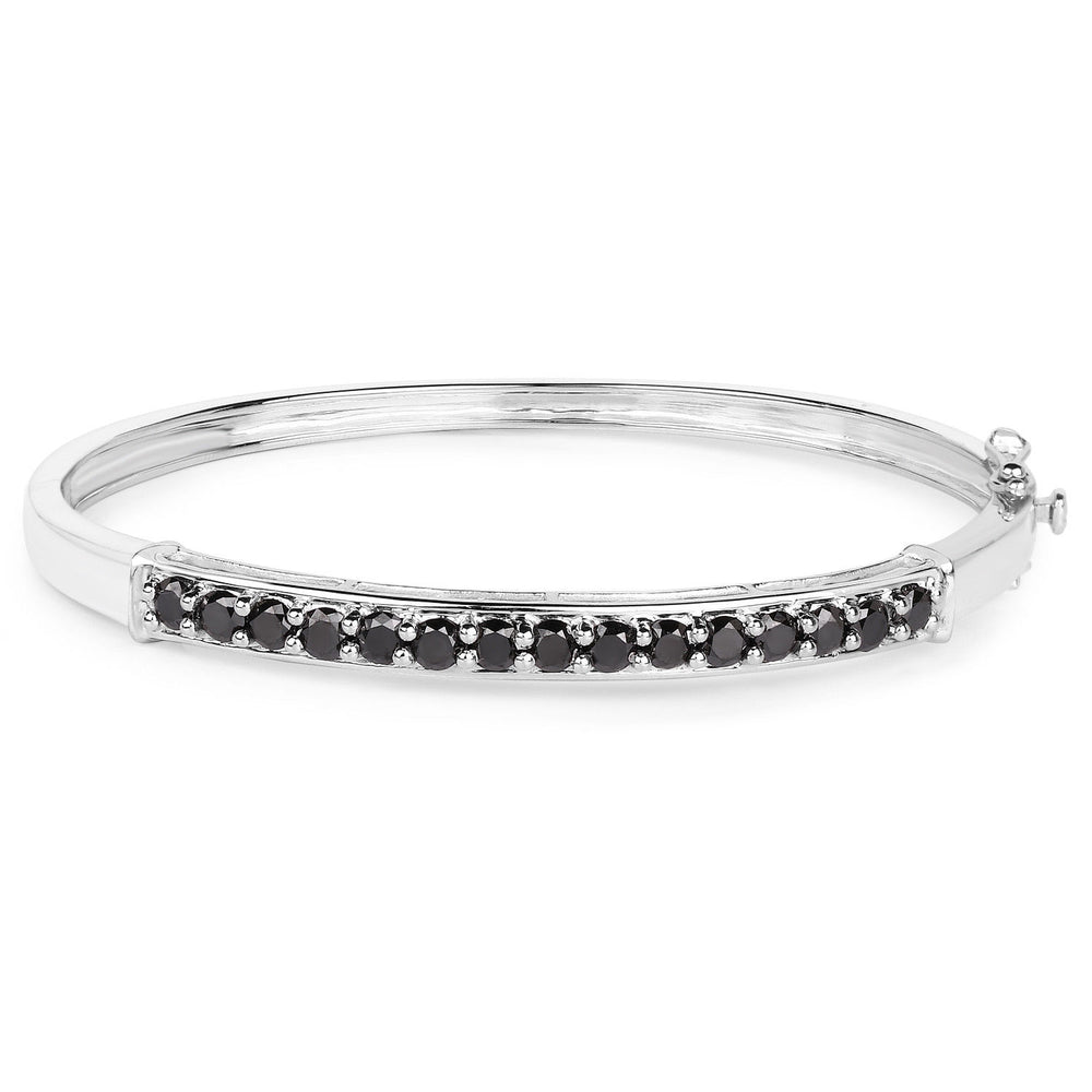925 Sterling Silver Bracelet Black Diamond Round 2.63 ct Gemstone 7.50 inches