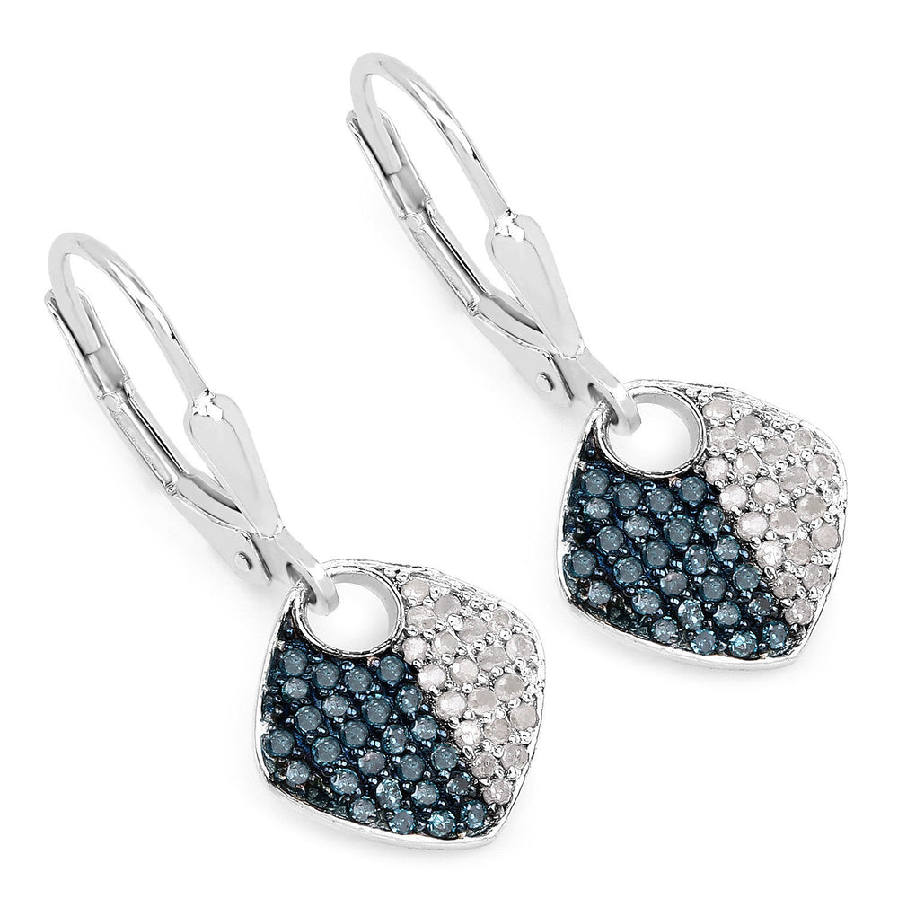 0.48ct Genuine White & Blue Diamond Gemstone Drop Earrings 925 Sterling Silver