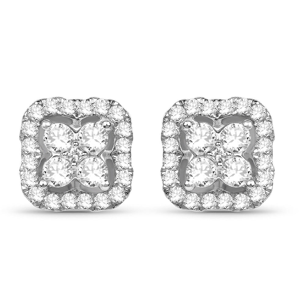 0.41ct Genuine White Diamond Ear Stud 14K White Gold Screw Back Gemstone Earring