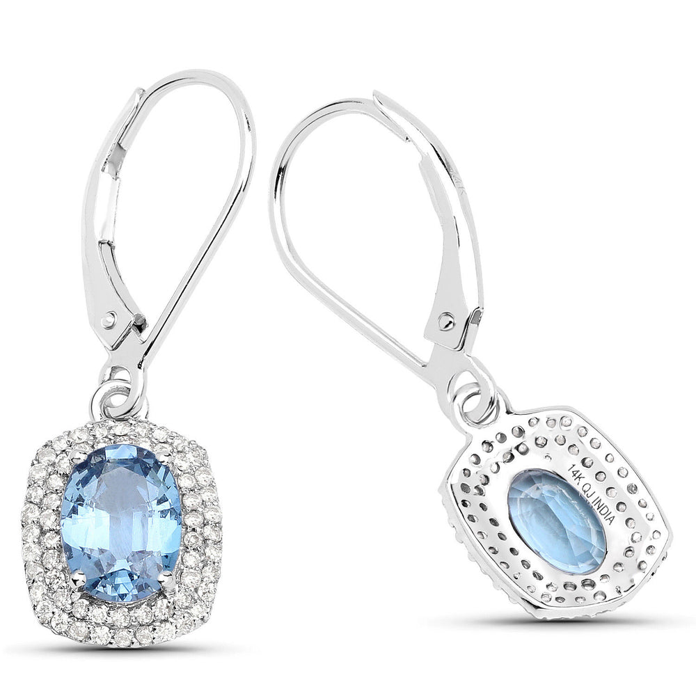 Drop Earrings 14K White Gold 2.36 ct Genuine Blue Sapphire & Oval Diamond