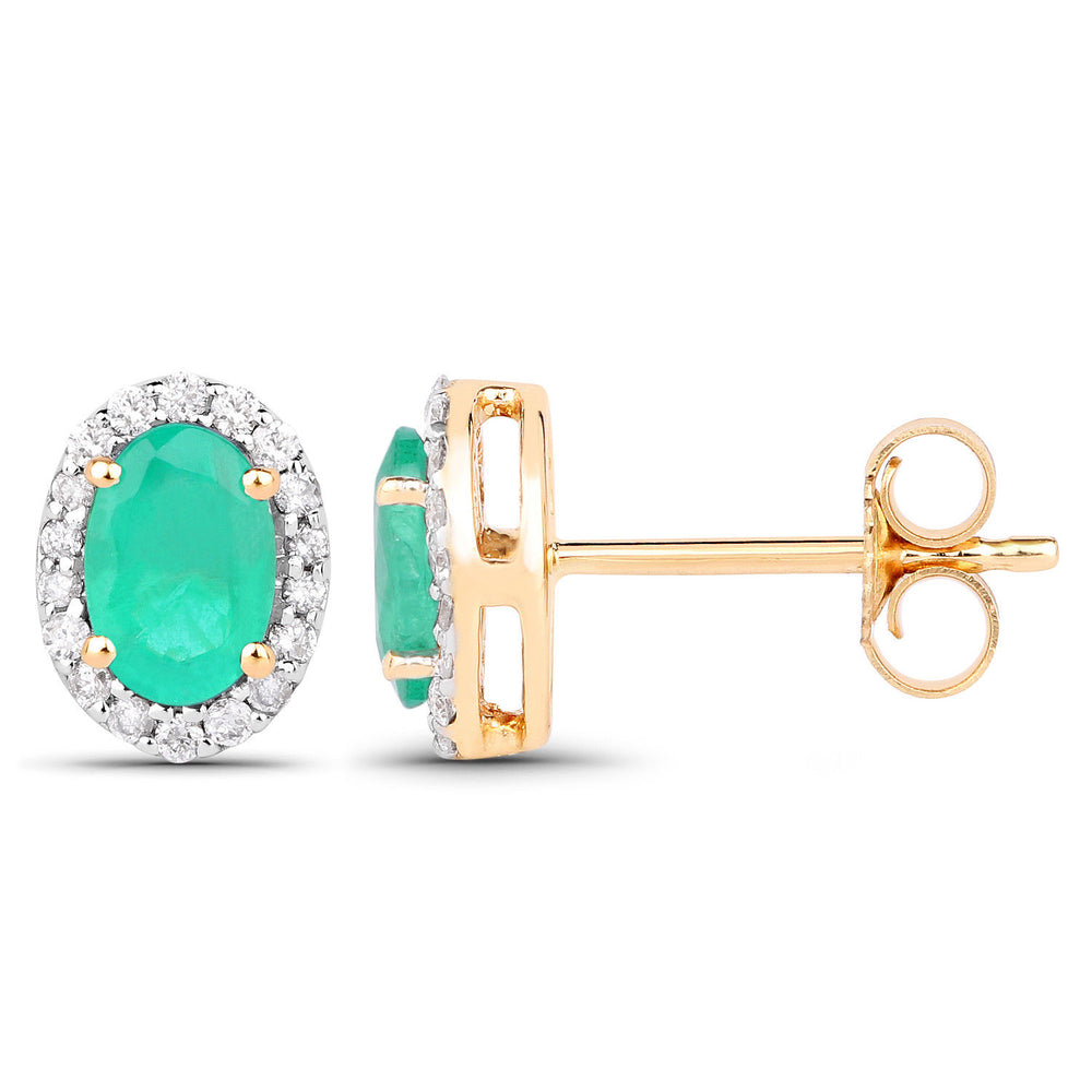 0.99 ct Genuine Zambian Emerald & Oval Diamond 14K Yellow Gold Stud Earrings