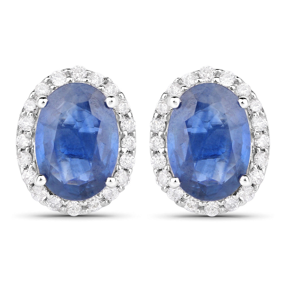 14K White Gold Stud Earrings 2.16 ct Genuine Blue Sapphire & White Diamond