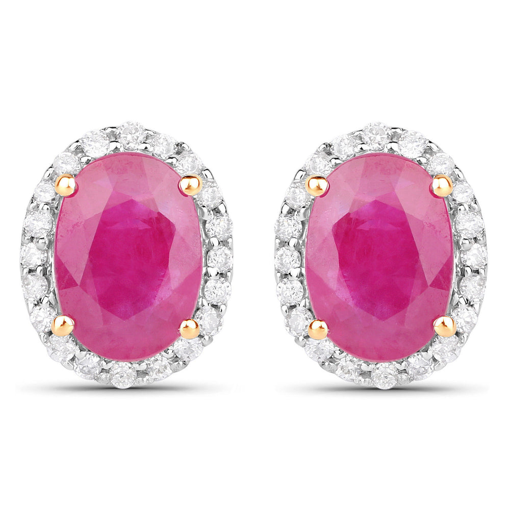 2.06 ct Genuine Ruby & White Diamond Ear Stud Pair 14K Yellow Gold Earrings