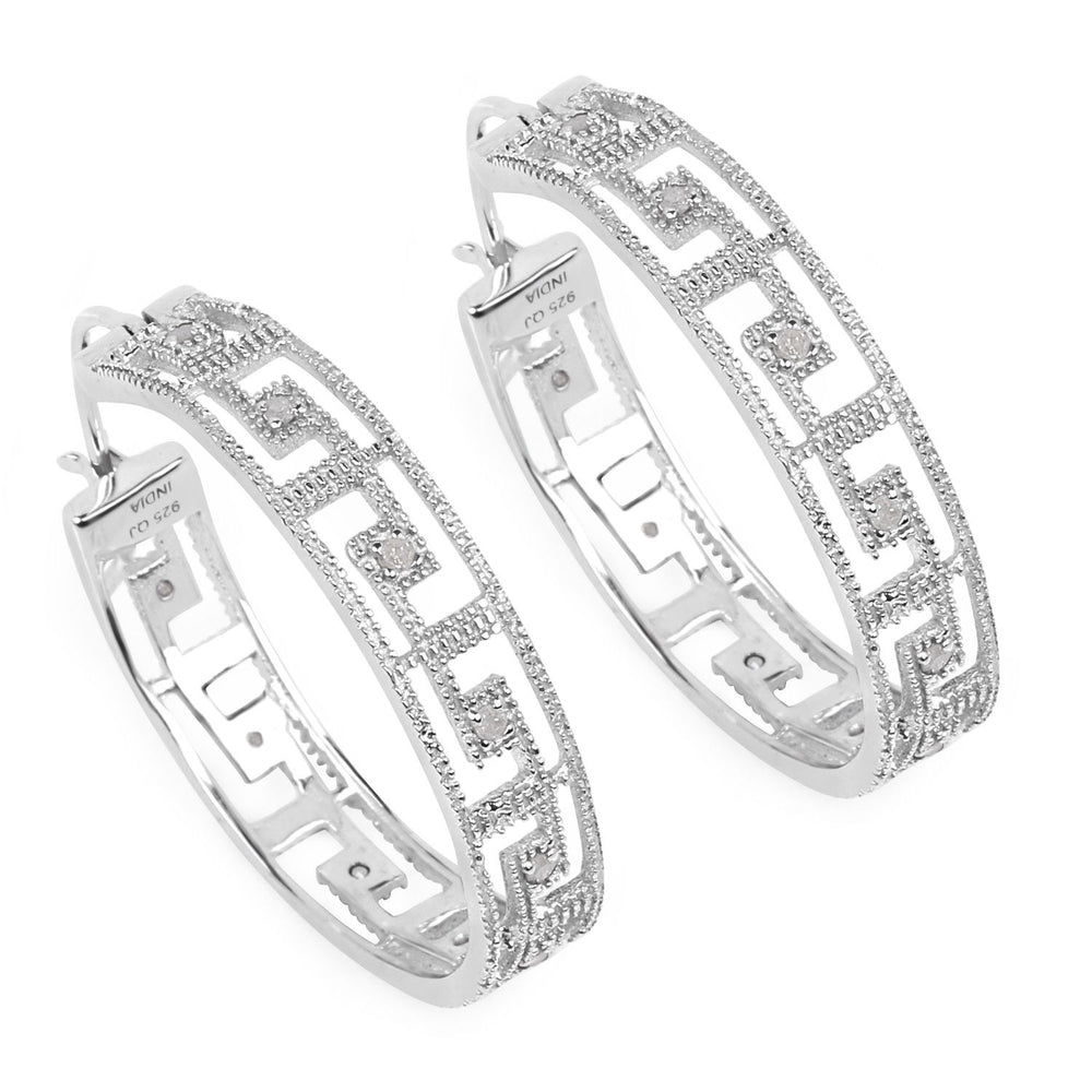 0.30ct Genuine White Diamond Gemstone Latchback Hoop Earring 925 Sterling Silver