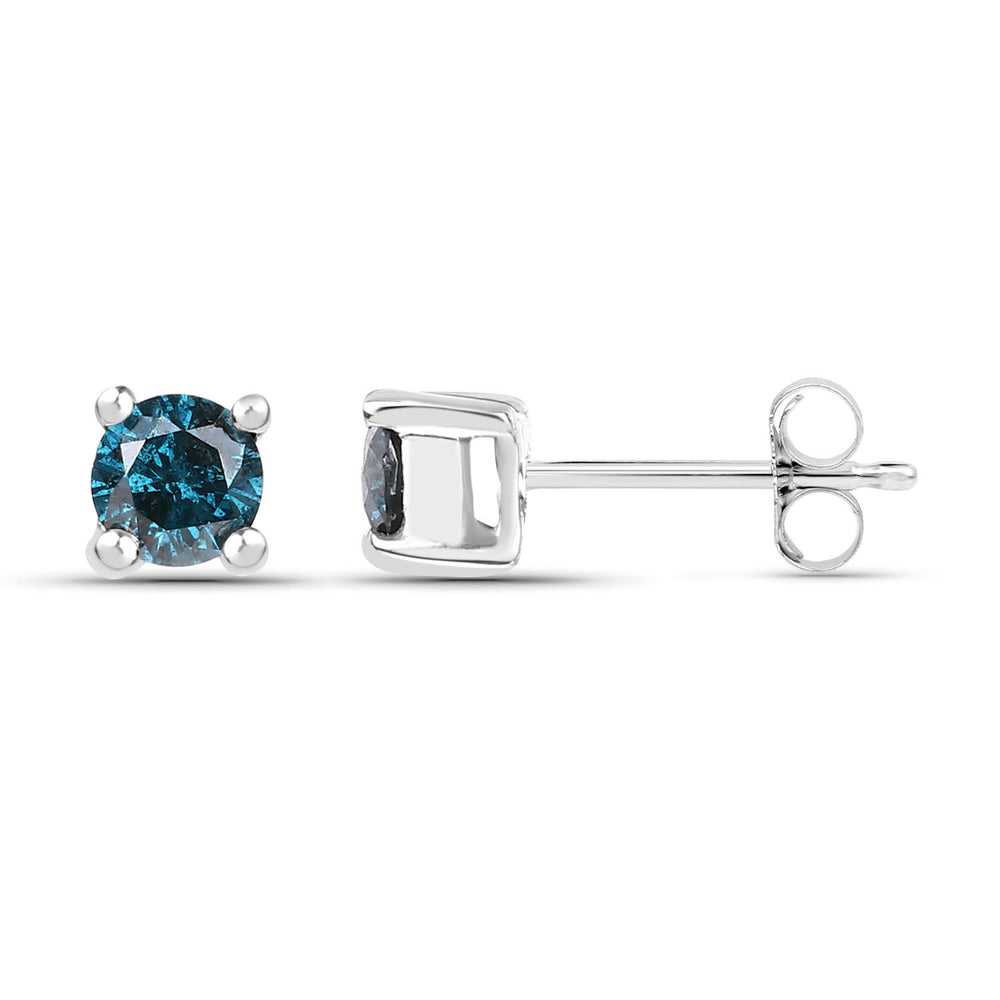 0.25 ct Genuine Diamond Blue Ear Stud 925 Sterling Silver Round Earrings
