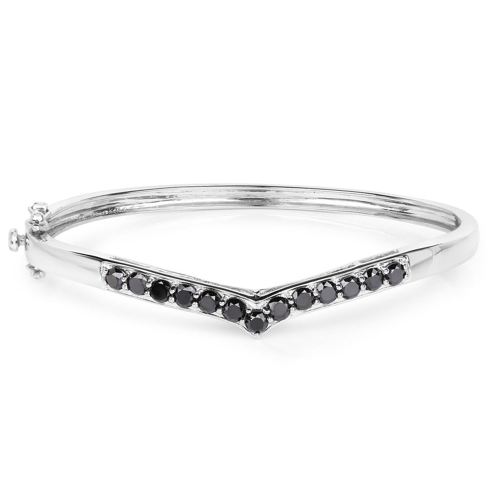 Bracelet 925 Sterling Silver 2.28 ct Black Diamond Round Gemstone 7.50 inches