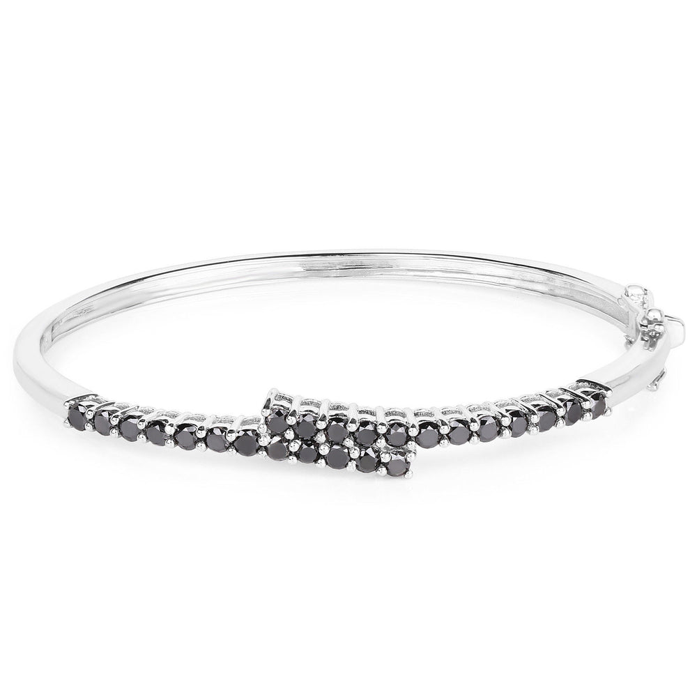 Black Diamond Bracelet 925 Sterling Silver Round Genuine Gemstone 7.50 inches