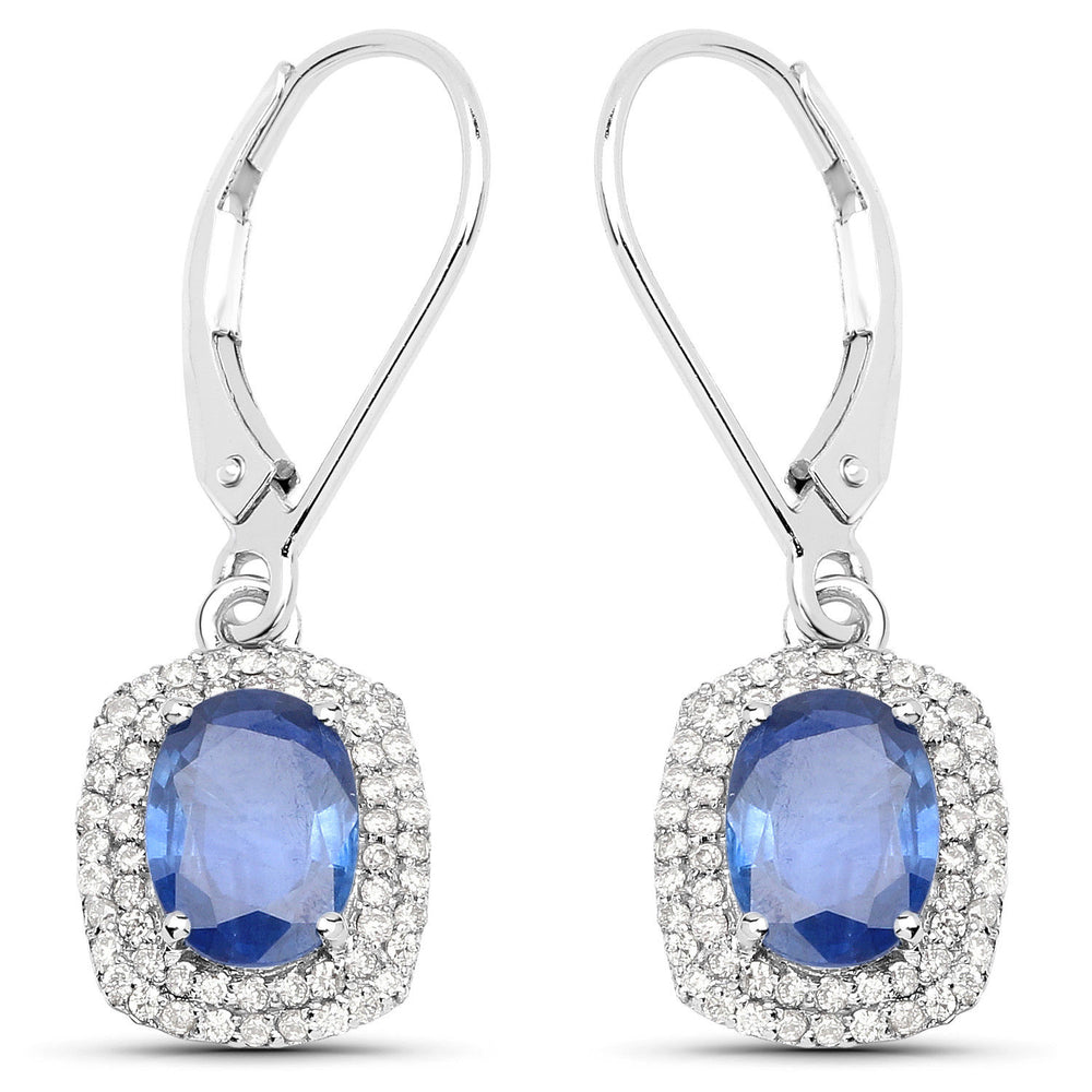 Stud Drop Earrings 2.36ct Genuine Blue Sapphire & White Diamond 14K White Gold