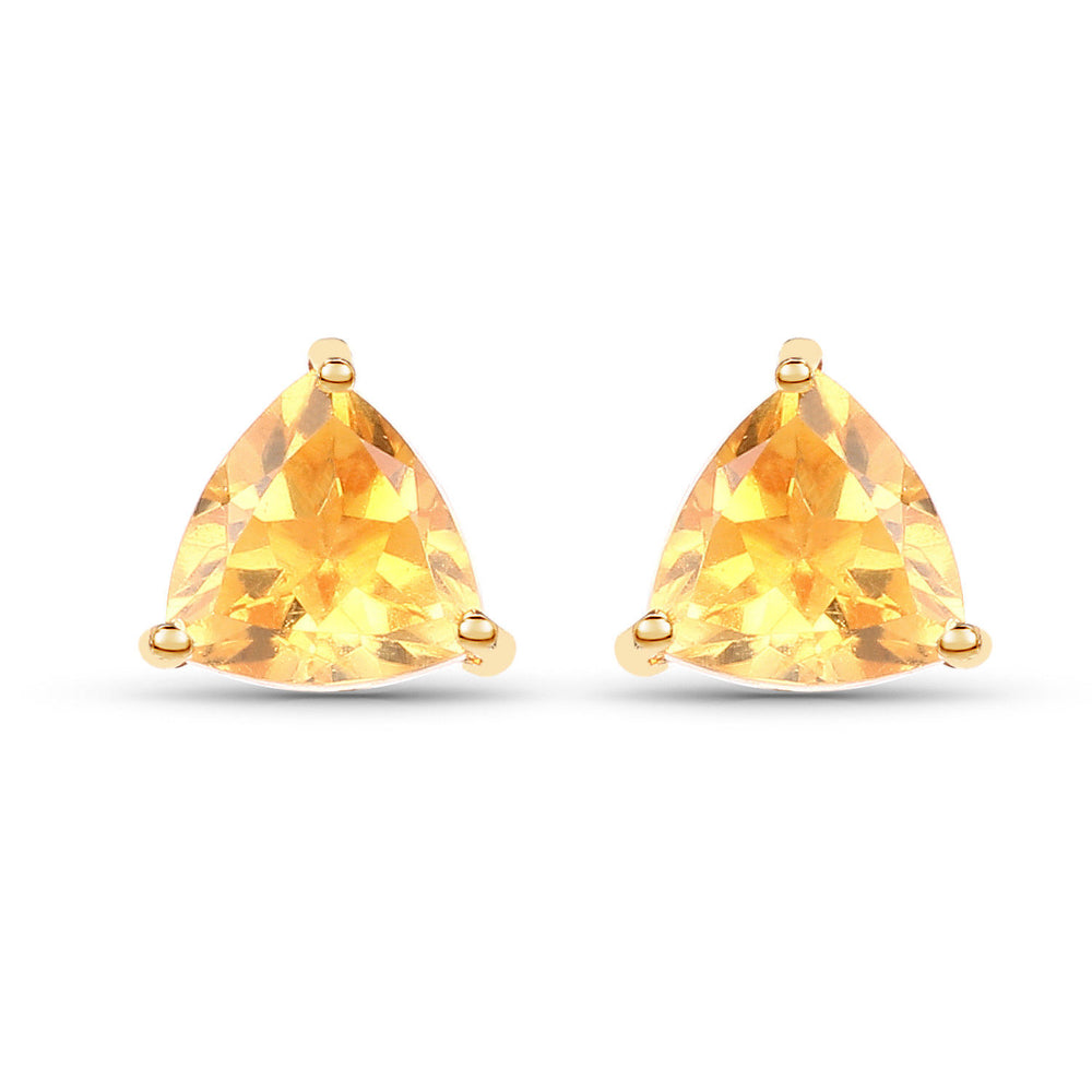 0.50 ct Genuine Citrine Gemstone Trillion Cut Stud Earrings 10K Yellow Gold