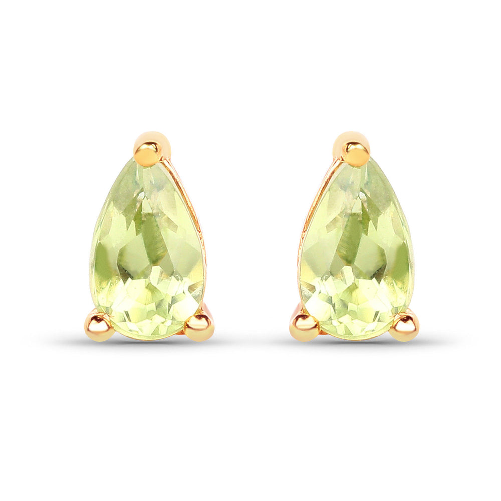 0.44 ct Genuine Peridot Gemstone 10K Yellow Gold Earrings Pear Cut Ear Stud Pair