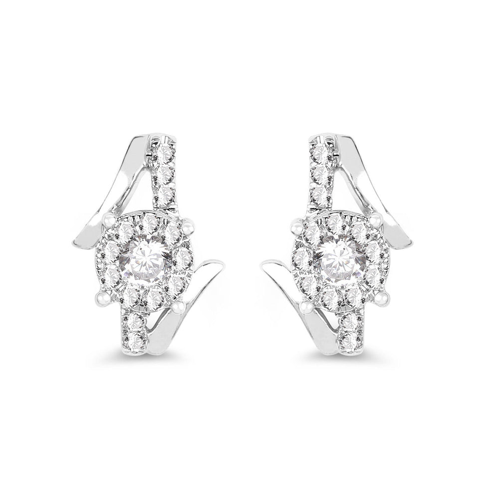 0.45 ct Genuine White Diamond 14K White Gold Ear Stud Push Back Z Shape Earrings