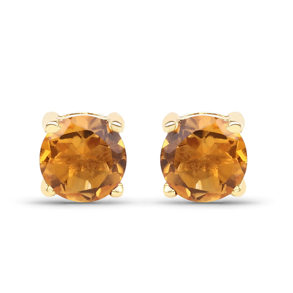10K Yellow Gold Ear Stud 0.46 ct Genuine Citrine Gemstone Round Earrings Pair