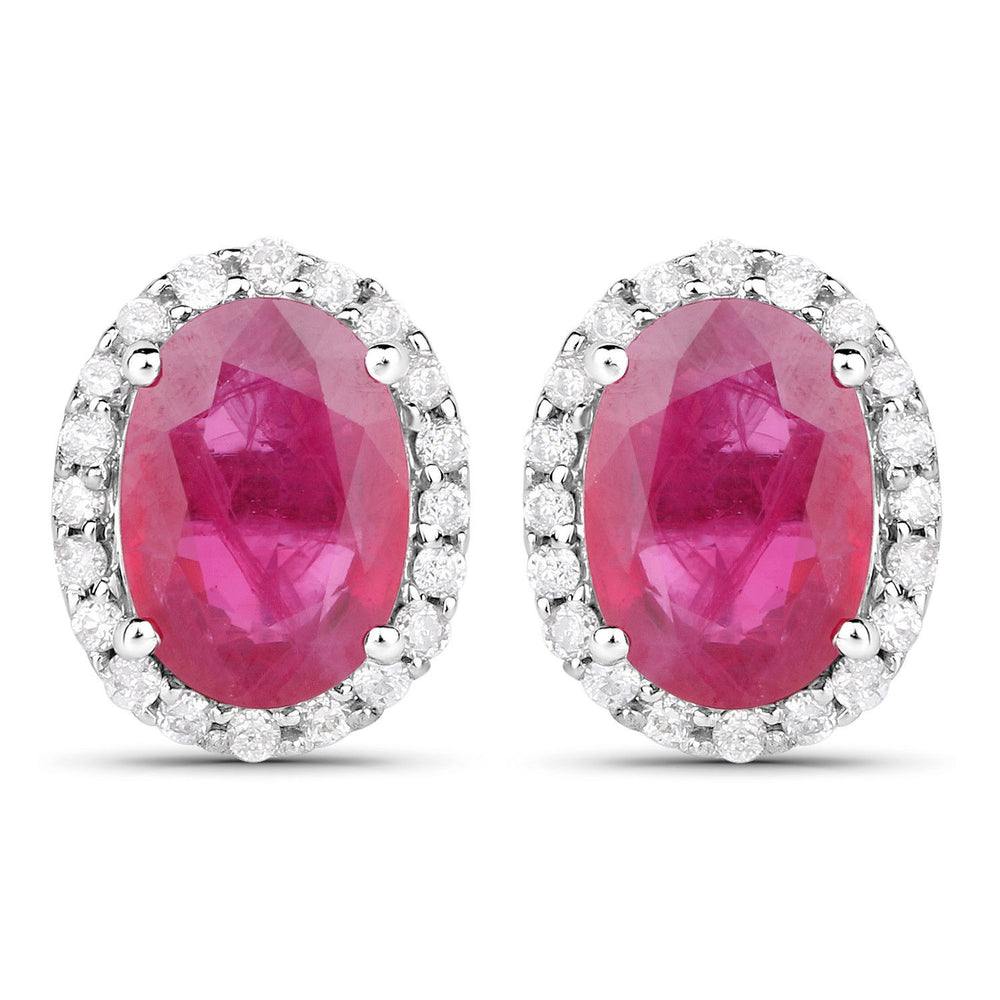 2.06 ct Genuine Ruby & Diamond Ear Stud Pair 14K White Gold Earrings