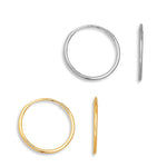Classic Endless Hoop Earrings Solid 14K Yellow & White Gold 10mm - 18mm