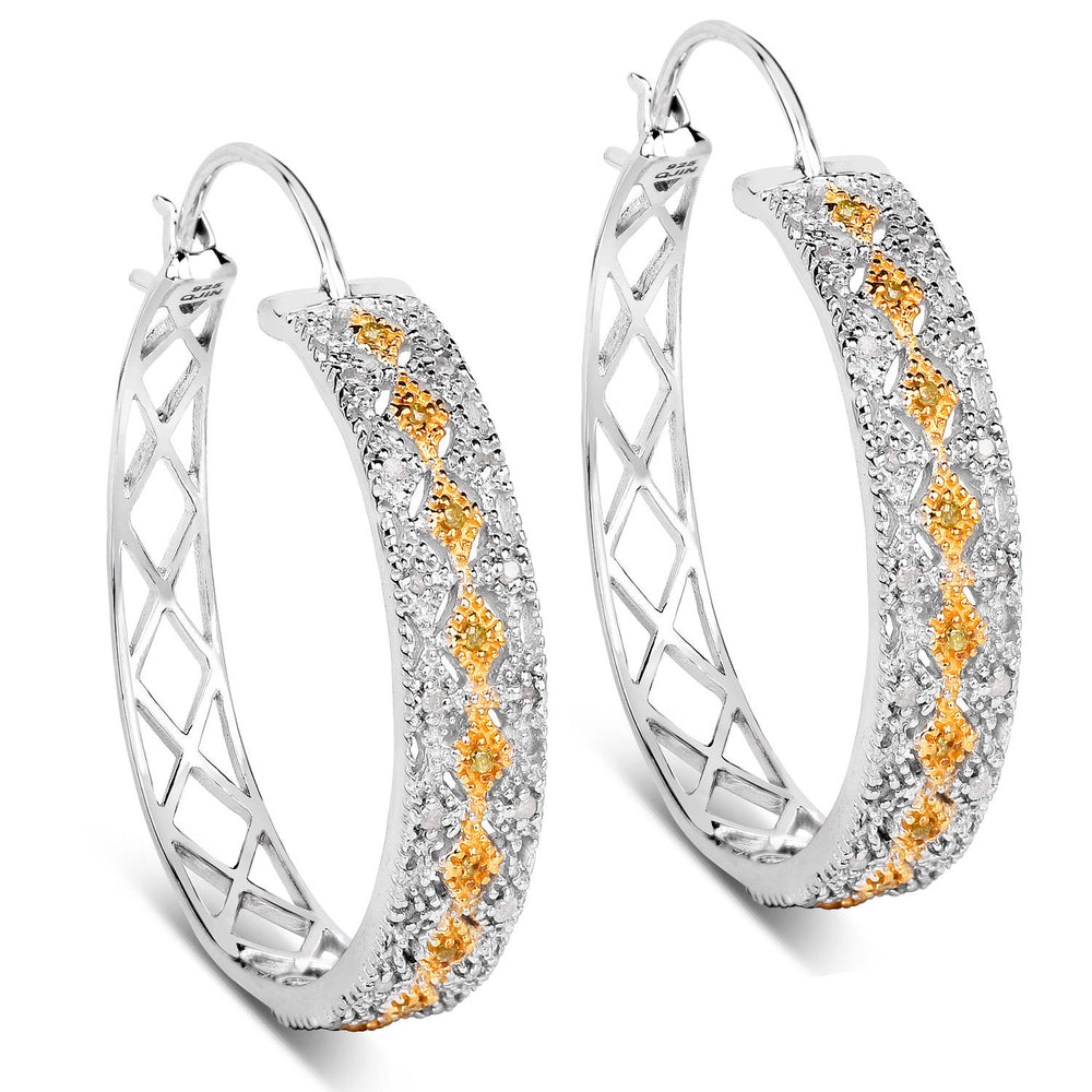 0.31 ct Genuine White & Yellow Diamond Gemstone 925 Sterling Silver Hoop Earrings