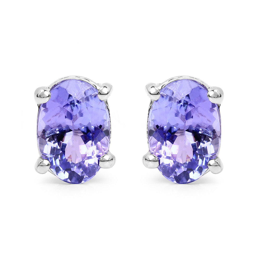 Purple Tanzanite 925 Sterling Silver Stud Earring 1.50 ct Push Back 0.27 inches
