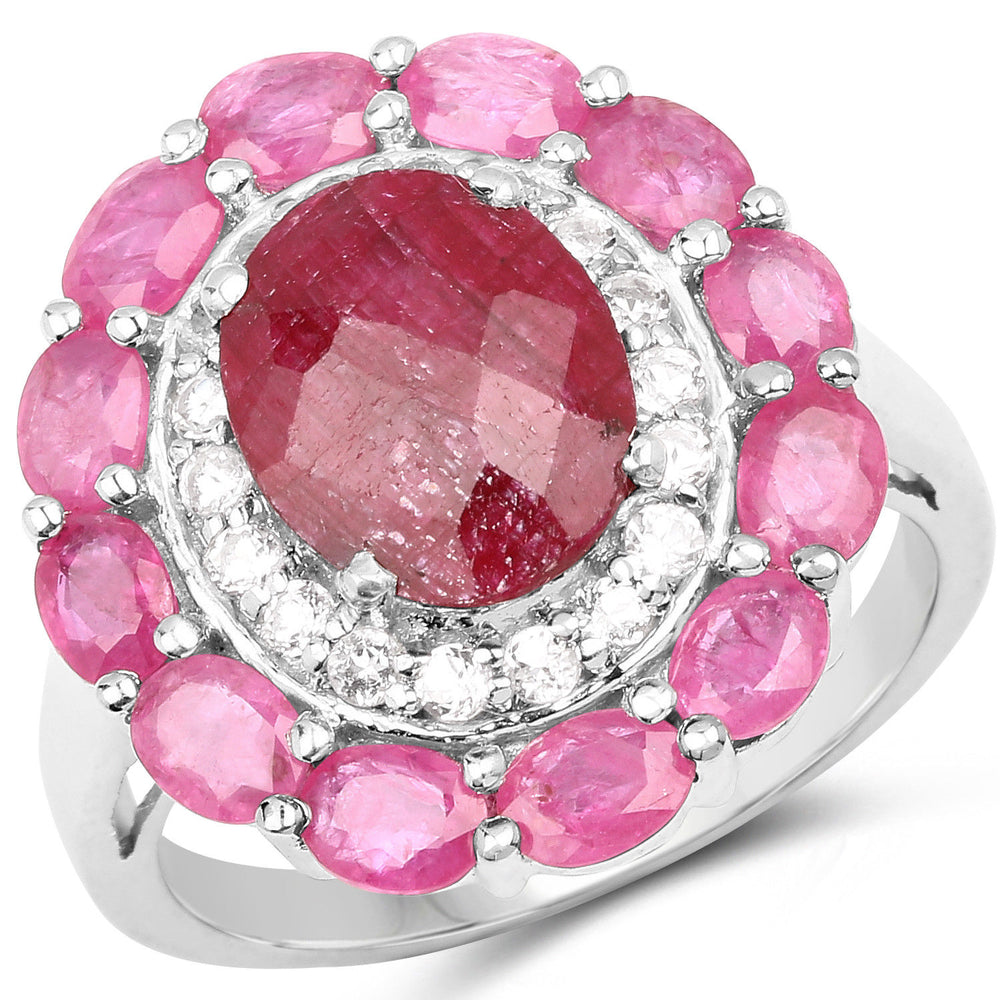 6.01 Ct Dyed Ruby, Ruby & White Topaz 925 Sterling Silver Wedding Bridal Ring