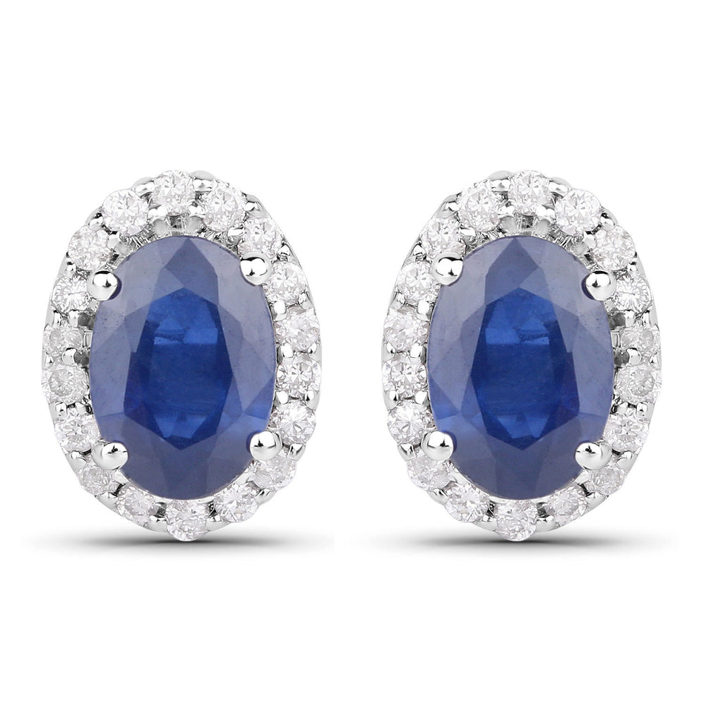 1.29 ct Genuine Blue Sapphire & White Diamond 14K White Gold Stud Earrings Pair