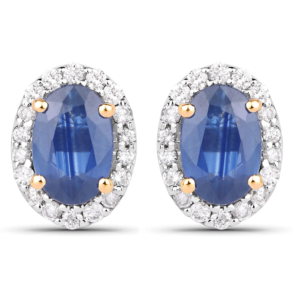 1.29 ct Genuine Blue Sapphire & Oval Diamond 14K Yellow Gold Stud Earrings