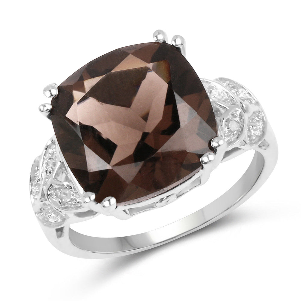 5.02ct Genuine Smoky Quartz & Accents 925 Sterling Silver Engagement Bridal Ring