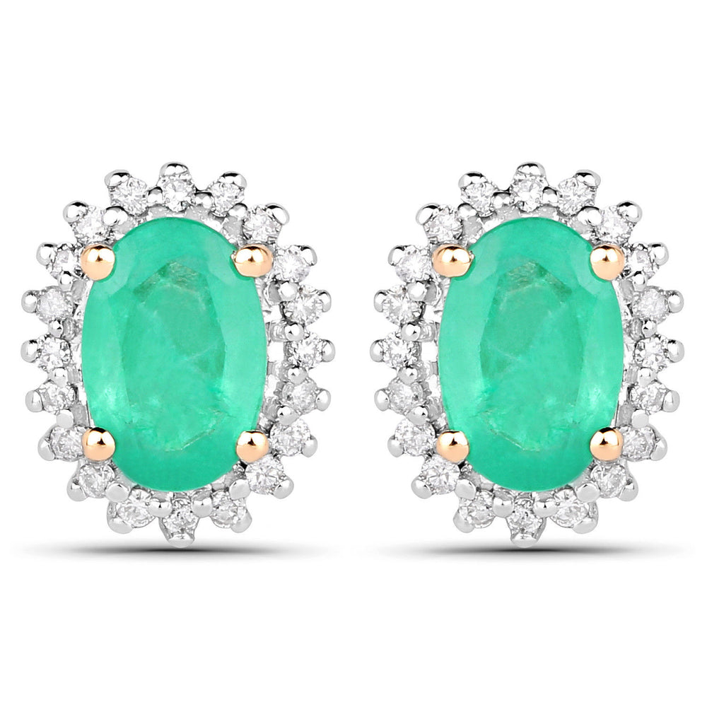 14K Yellow Gold 0.92 ct Genuine Zambian Emerald & Oval Diamond Stud Earrings