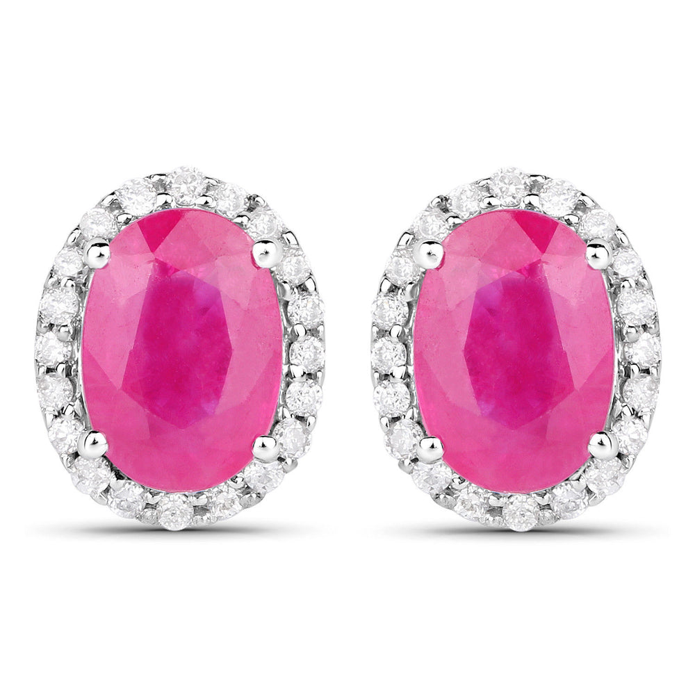 14K White Gold Earrings 2.06 ct Genuine Ruby & Round White Diamond Ear Stud