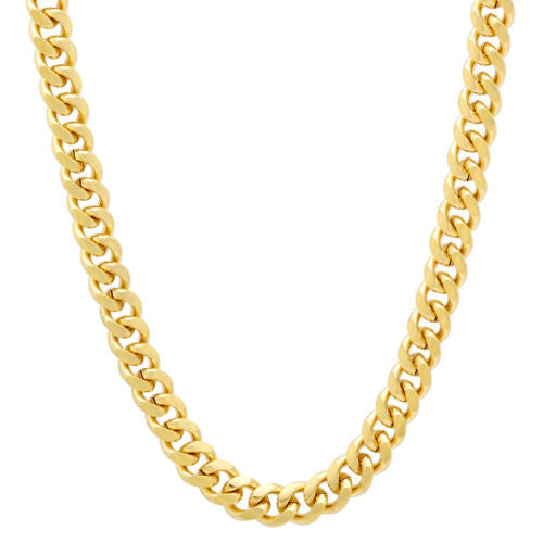 14K Yellow Gold Miami Cuban Chain Men Women Necklace Link 7.4MM 8.5 to 26""