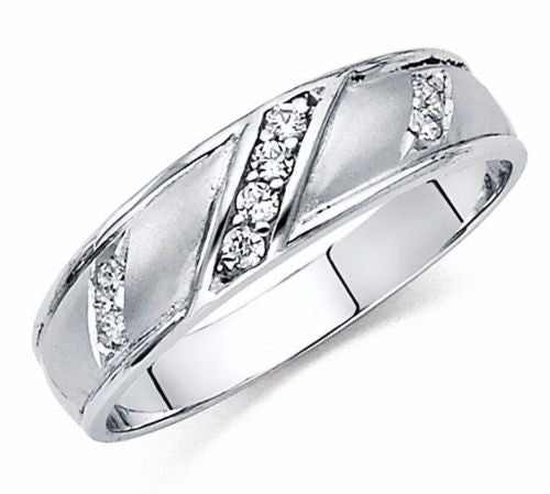 0.50CT 14k White Gold Men's Wedding Band Lab-Diamond Solid White Gold - All Sizes