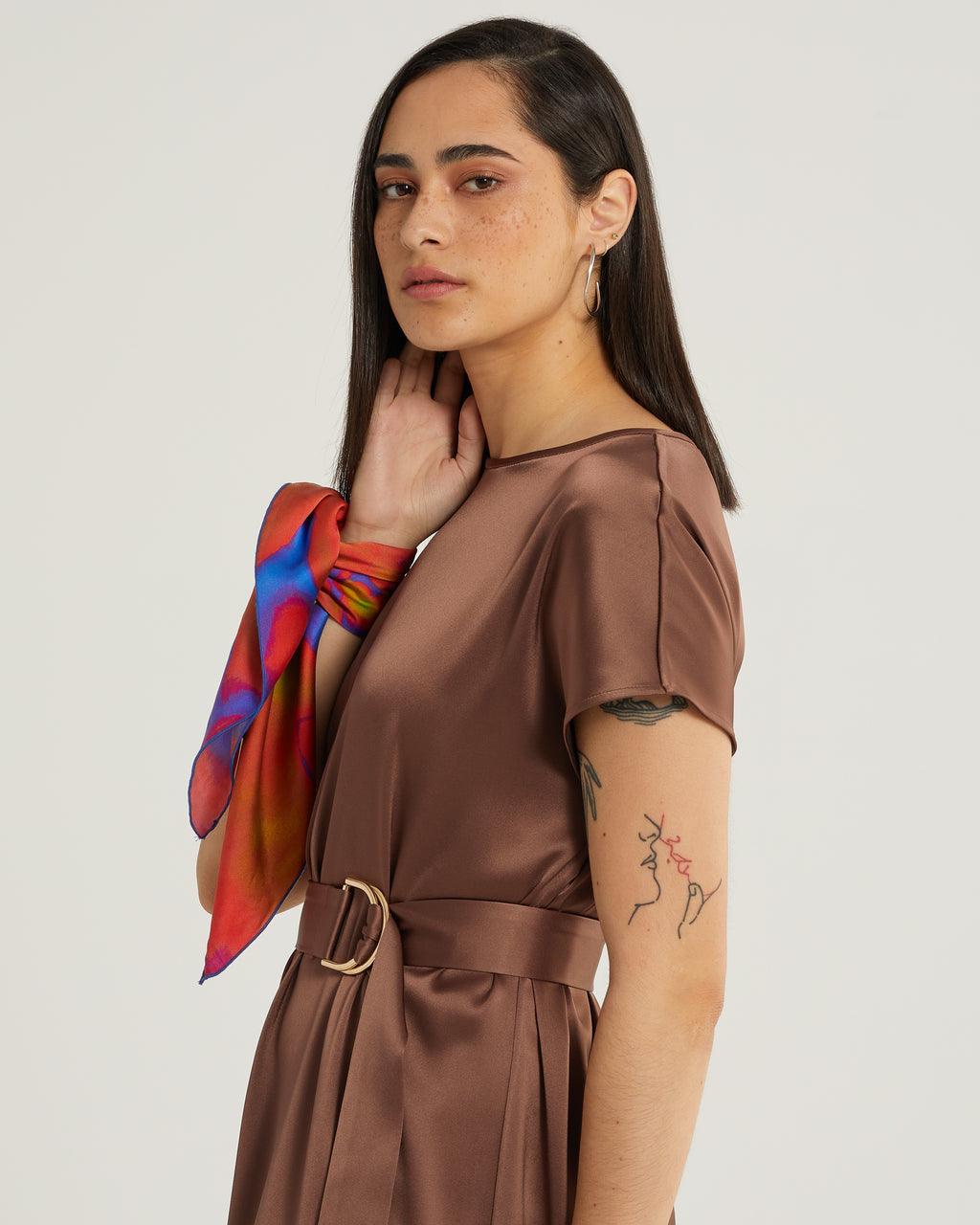 Akilah Short Sleeve Shift Dress with belt