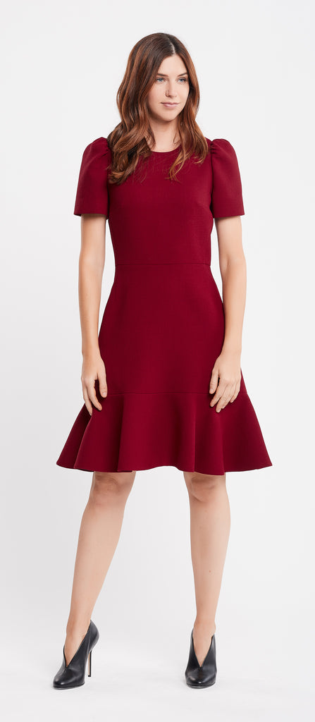 Alicia Short Sleeve A-Line Rust Work Dress and Cocktail Dress