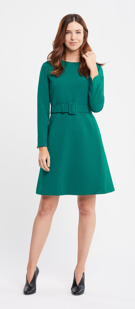Amelia Long Sleeve A-Line Emerald Work Dress
