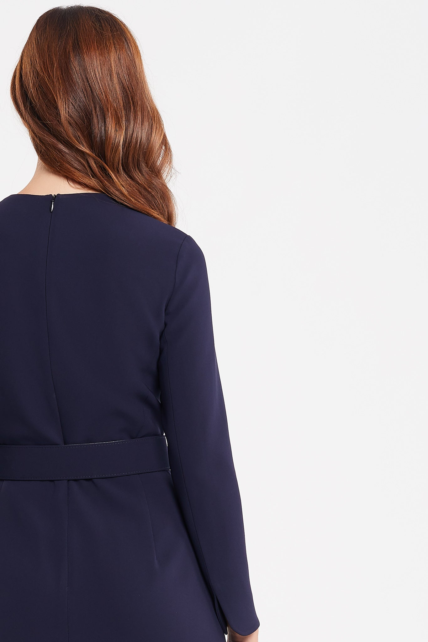 Amelia Long Sleeve A-Line Navy Work Dress