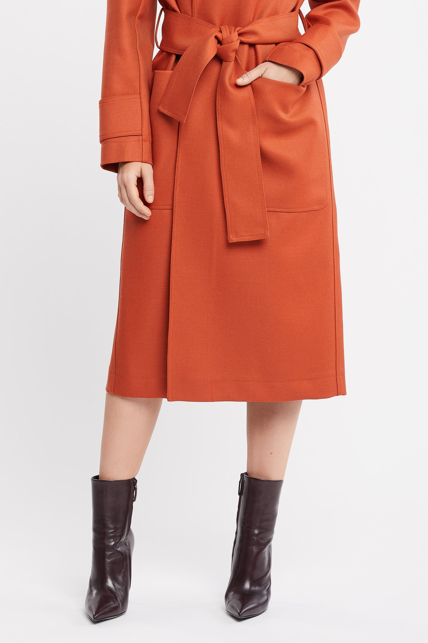 Claude Long Sleeve Rust Coat