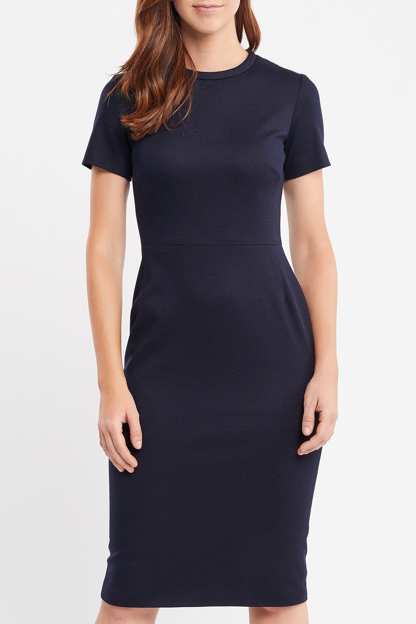 Charlie Short Sleeve Sheath Navy Tweed Work Dress