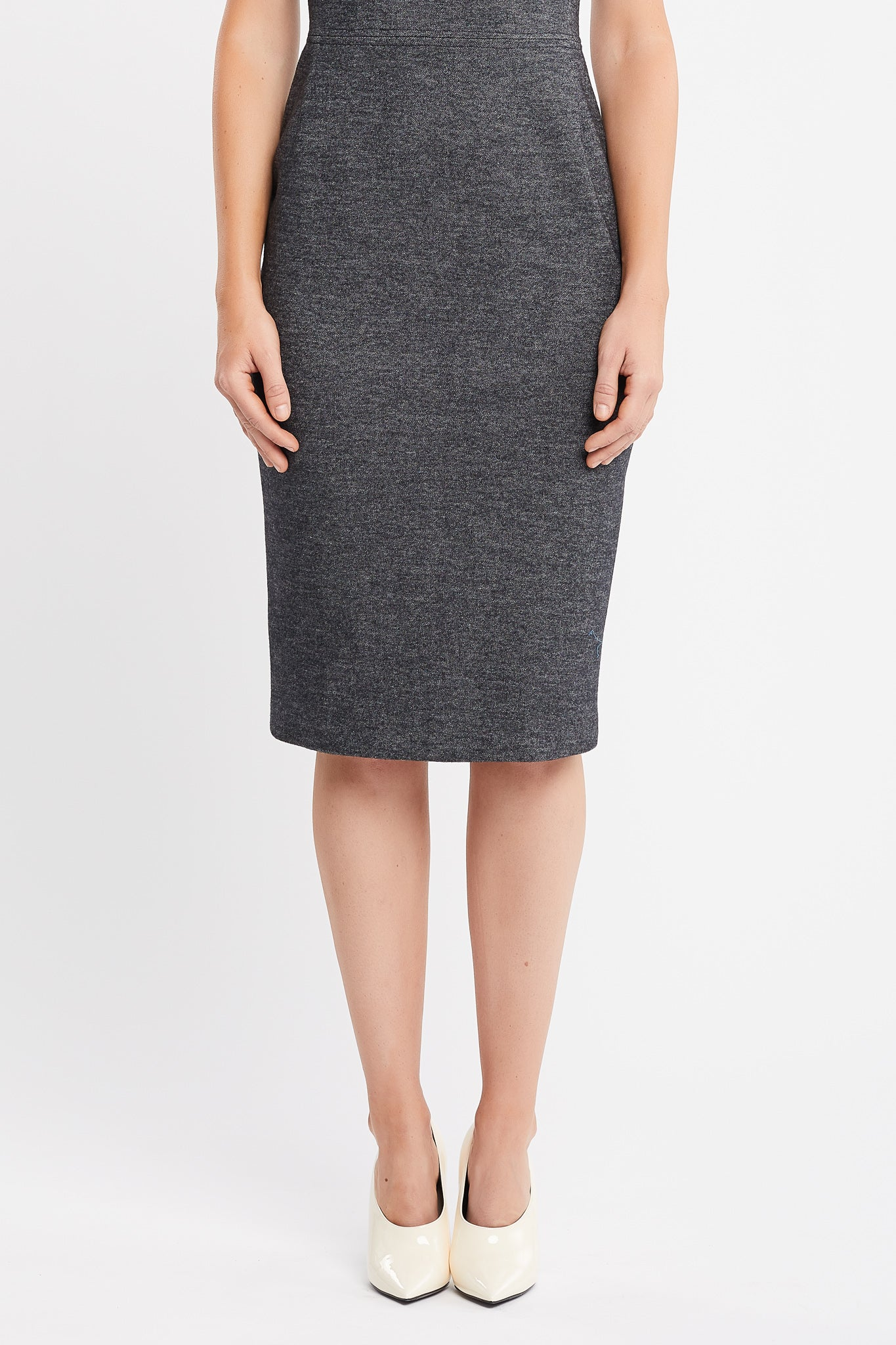Charlie Short Sleeve Sheath Anthracite Tweed Work Dress